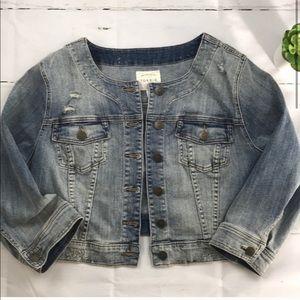 Torrid Distressed Cropped Denim Jacket